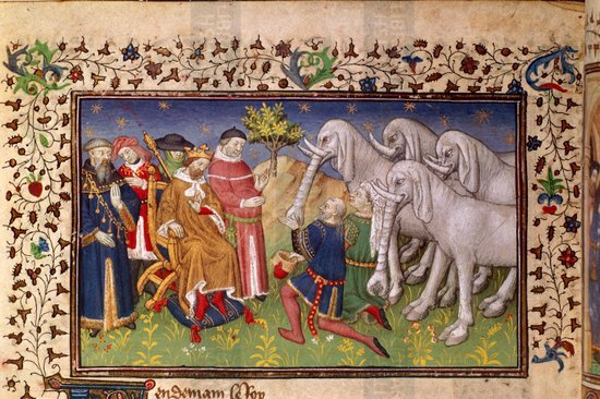 Alexander the Great presented with white elephants. Image taken from La Vraye Histoire du Bon Roy Alixandre early 15th century published in France.