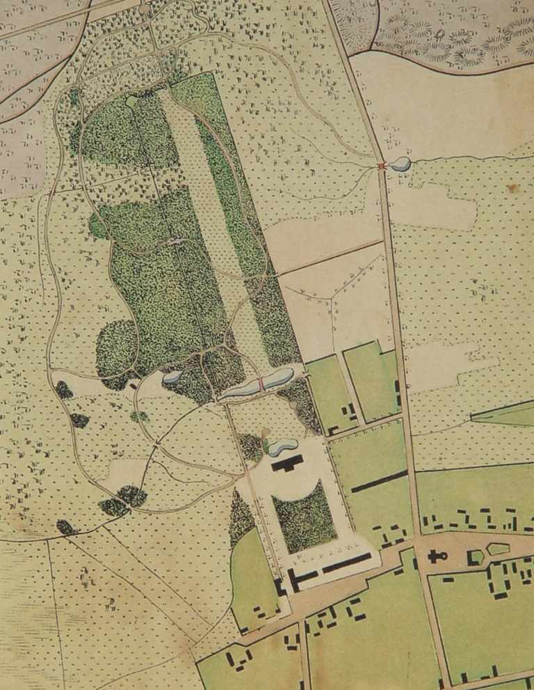 Plan from 1821 with the Friedrichsfelde castle, during the time when the garden  was developed into a park, by Peter Joseph Lenné (1789-1866)