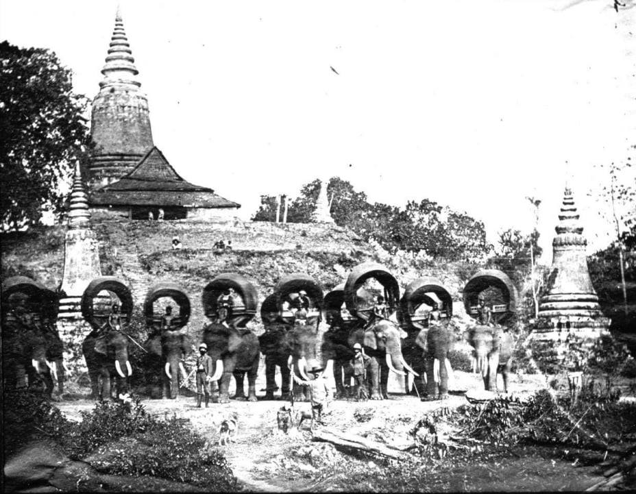 "Wat Phnom, prior to 1888. (""Leaving for the hunt"")."
